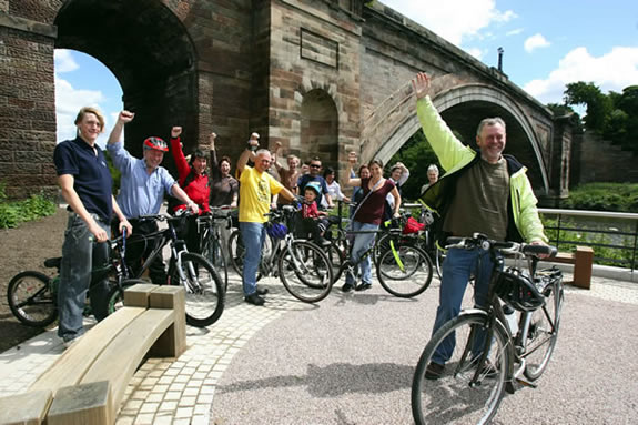 David Robinsn (and others) celebrating Chester's status as a Cycling Demonstration Town.
